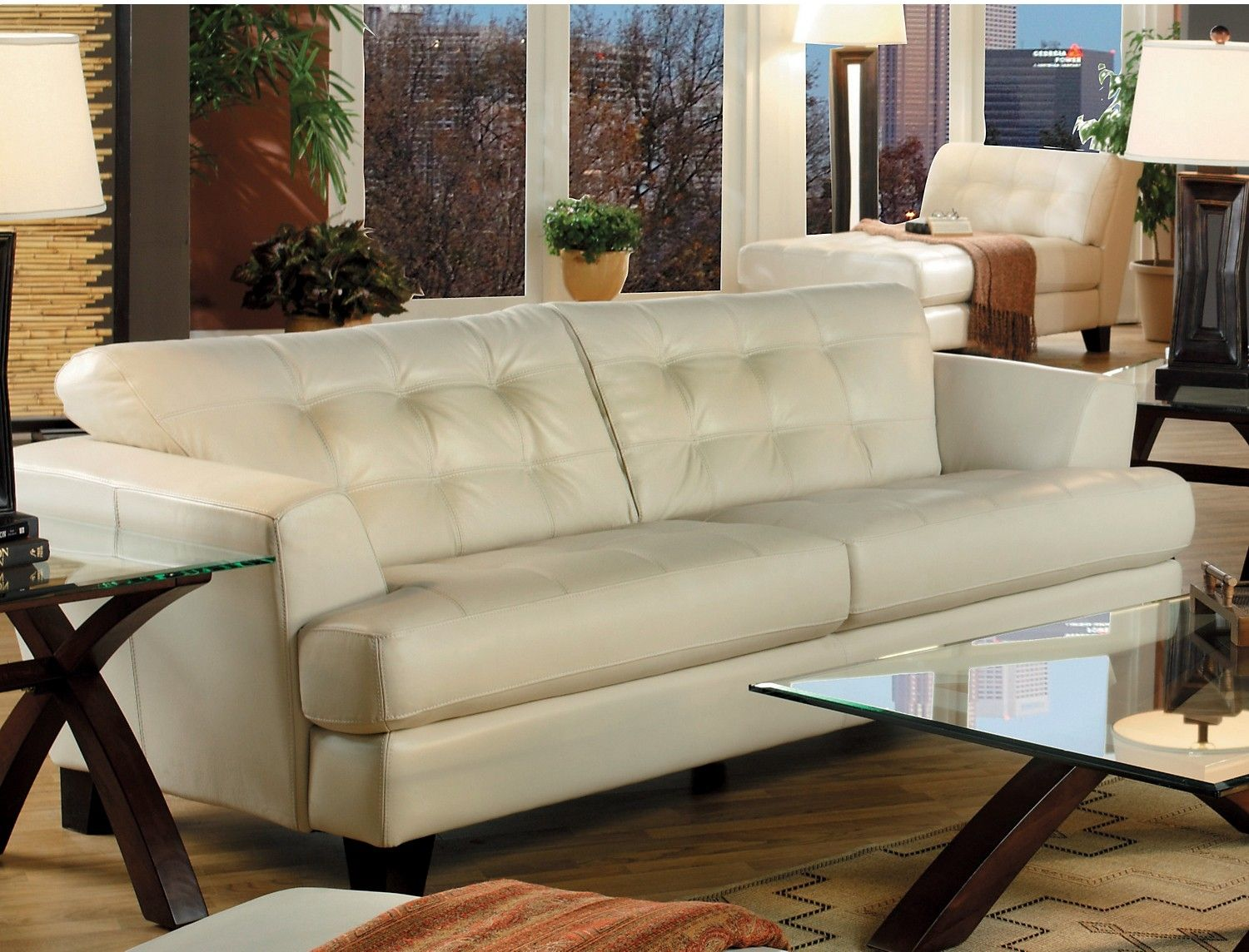 Perfect Avenue Genuine Leather Sofa   Ivory | The Brick