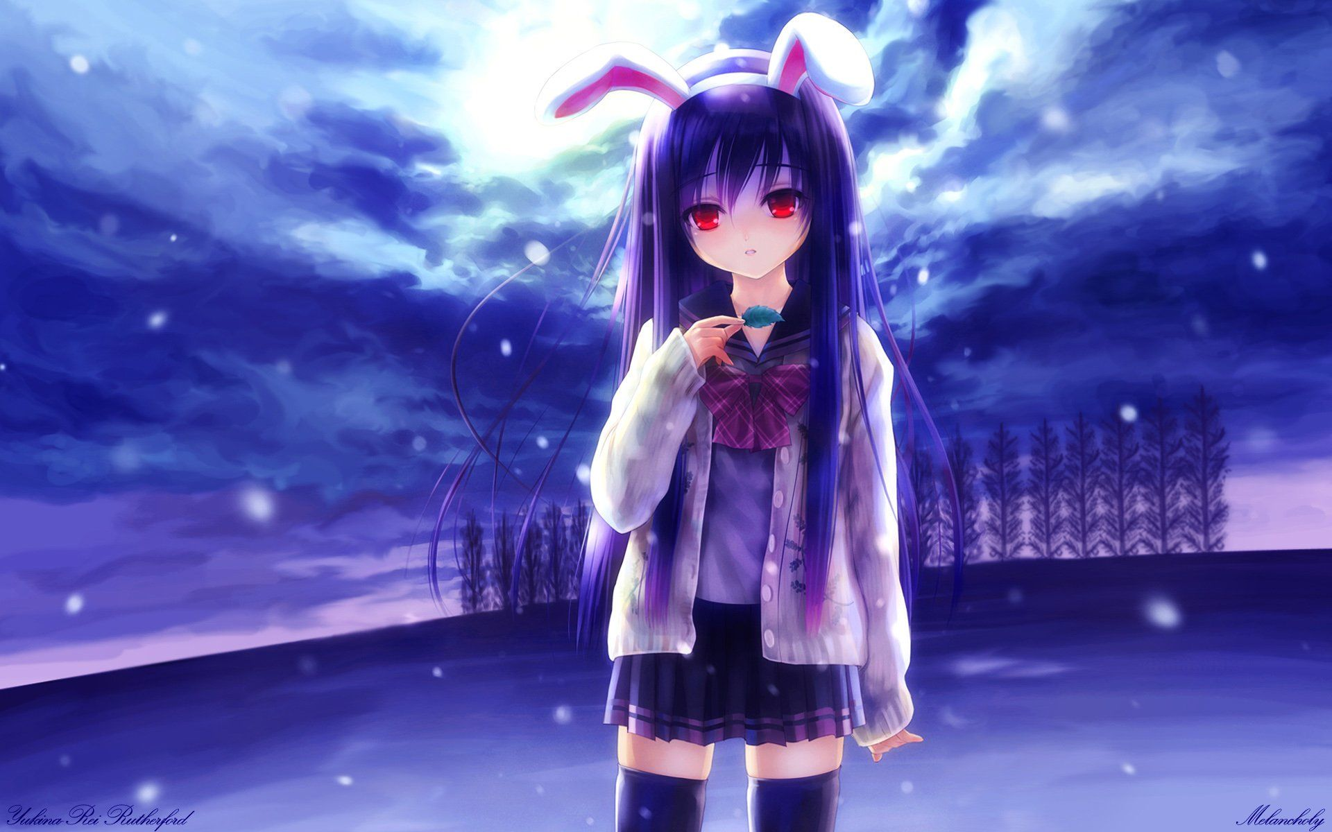 Anime Touhou Blue Purple Girl Anime Reisen Udongein Inaba