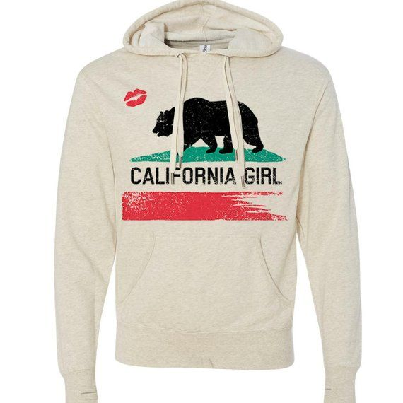 31f360dd California Girl Ivory Cali Dreaming State Flag Bear West Coast Women's  Pullover Graphic Hoodie - Mad
