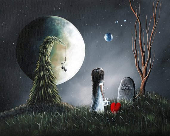 CANVAS ART PRINT, gothic fantasy, girl at grave, meaningful art, fantasy, wall art, different art, o