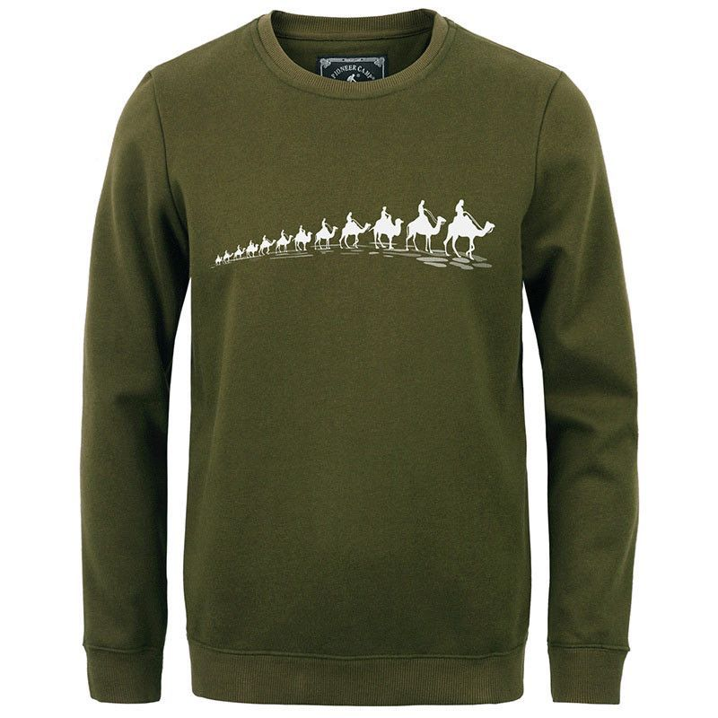 Pioneer Camp fashion fleece thicken hoodies men warm 100%cotton brand clothing casual male hoody shark men sweatshirt XXXL