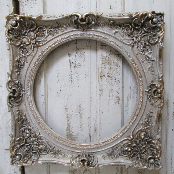 Large architectural wall frame painted detailed silvery gold pewter ...