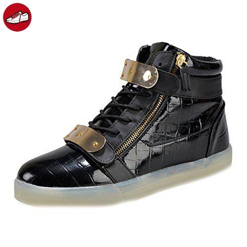 [Present:kleines Handtuch]Weiß EU 41, Schuhe Velcro Unisex Rollbrett Leuchtend Herren LED Sneakers Sport High-Top JUNGLEST® Aufladen weise USB Turnschuhe Tanzen D