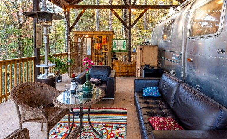 Restored vintage airstream near carters lake in