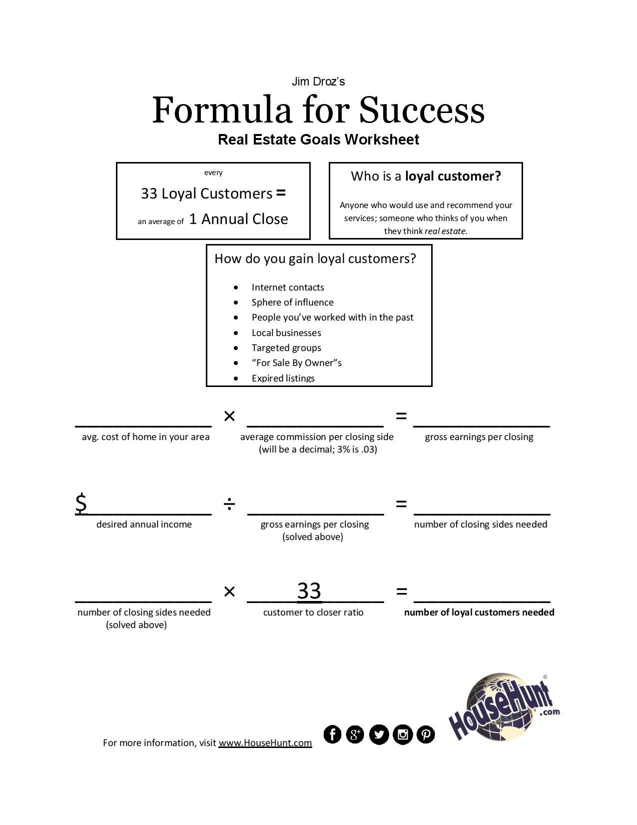 Formula For Success Worksheet