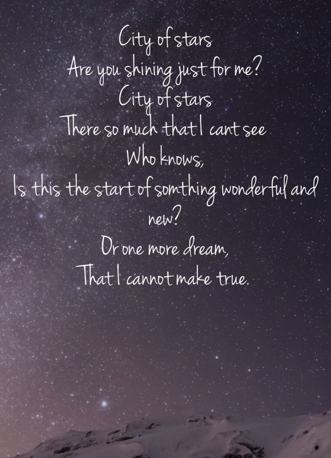 Peter Pan Quote Iphone Wallpaper City Of Stars Ryan Gosling And Emma Stone Favorite