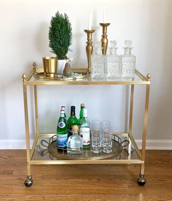 Vintage Gold Bar Cart Pinele Finials By Modrendition