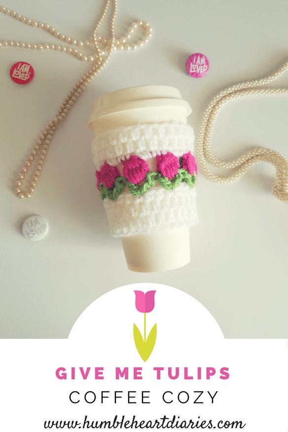 Tulips Coffee Cozy - free crochet pattern | Crochet | Pinterest ...