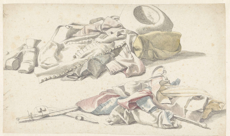 Anonymous   Twee stillevens van de plunje van een soldaat, Anonymous, 1600 - 1699  
