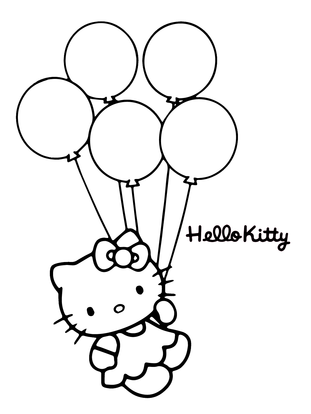 Adorable Hello Kitty Holding Balloons On Bubakids Coloring