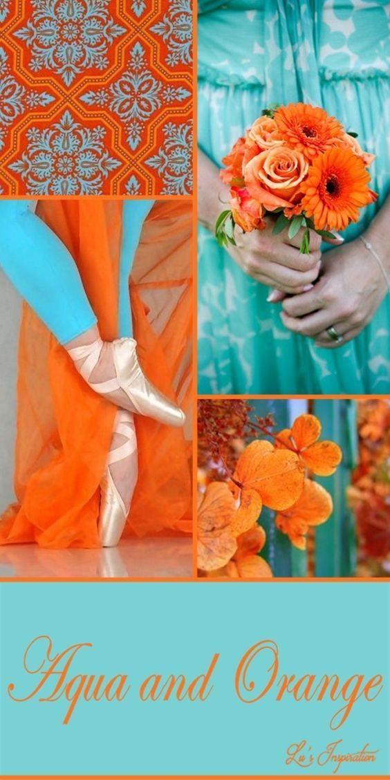 Orange And Aqua: Turquoise Color Scheme, Color Collage