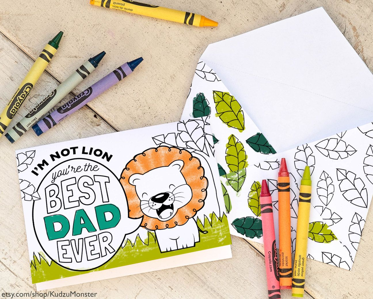 Printable Father S Day Card Coloring Page Cute Lion Jungle Theme I M Not Lion You Re The Best