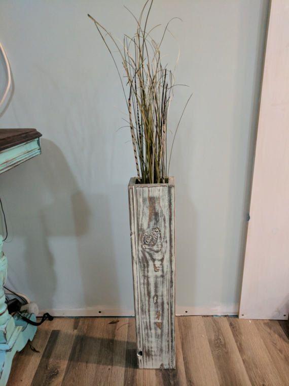 Single Rustic Floor Vase Wooden Vase Home Decor Decorative Vase
