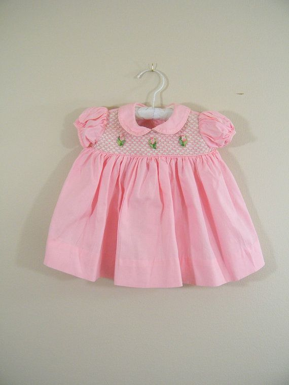 Vintage 1950s Baby Dress with Matching Diaper Cover / Pink Party ...