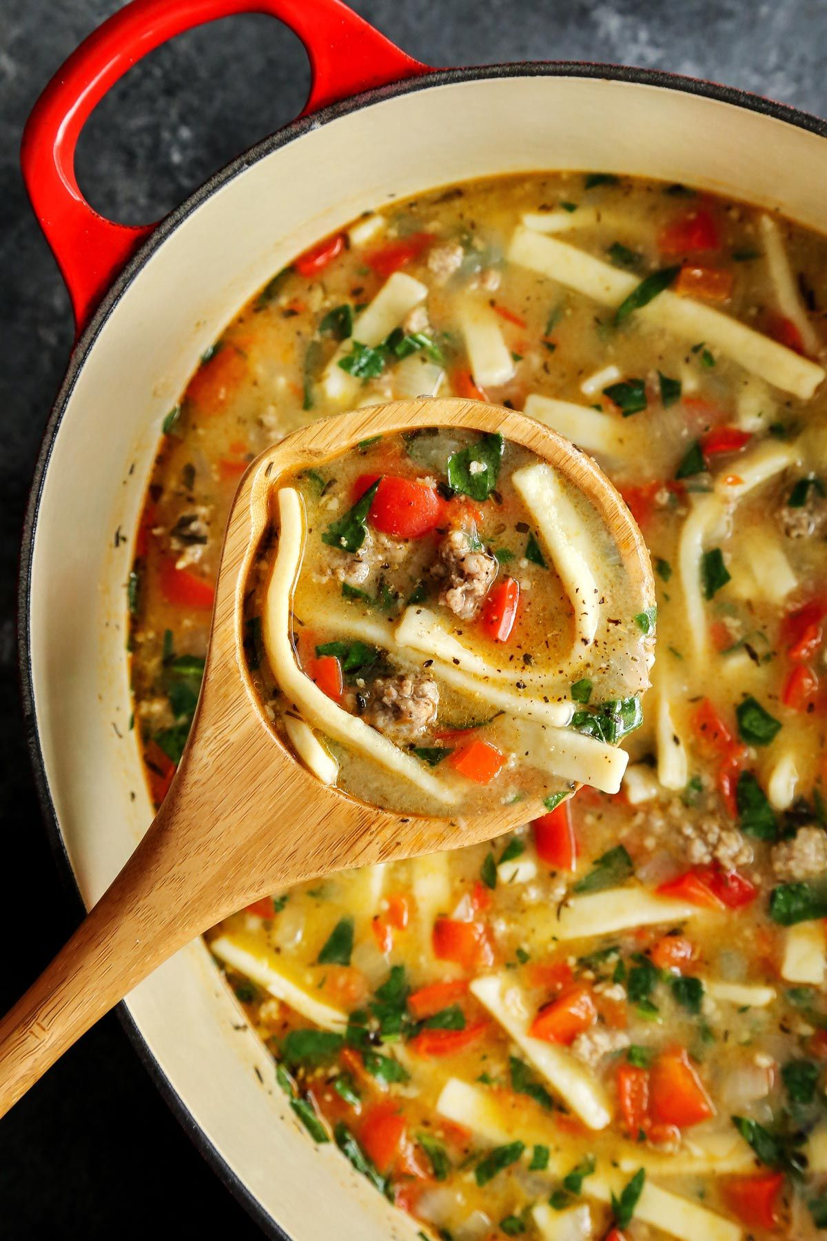 Sausage And Red Pepper Soup With Egg Noodles Recipe Stuffed Pepper Soup Red Pepper Soup Comfort Soup Recipes