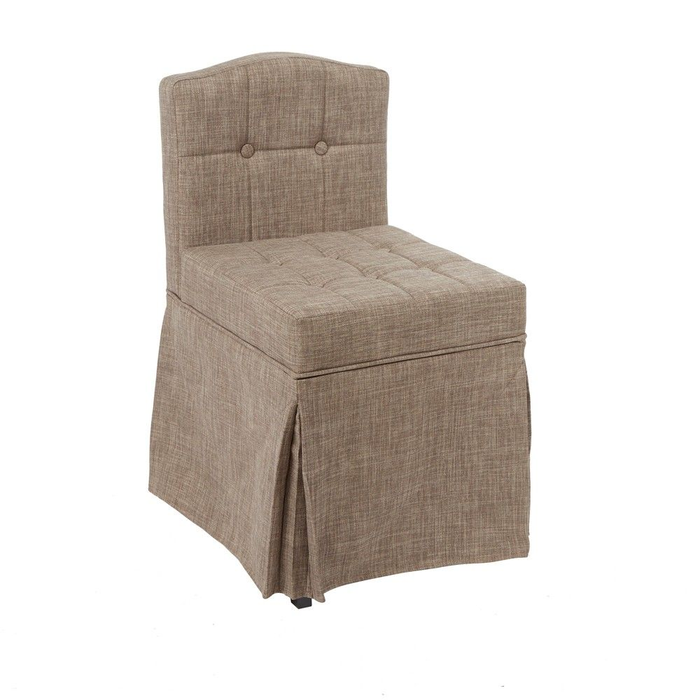 sally skirted camelback vanity chair with tufted cushions tan rh pinterest com