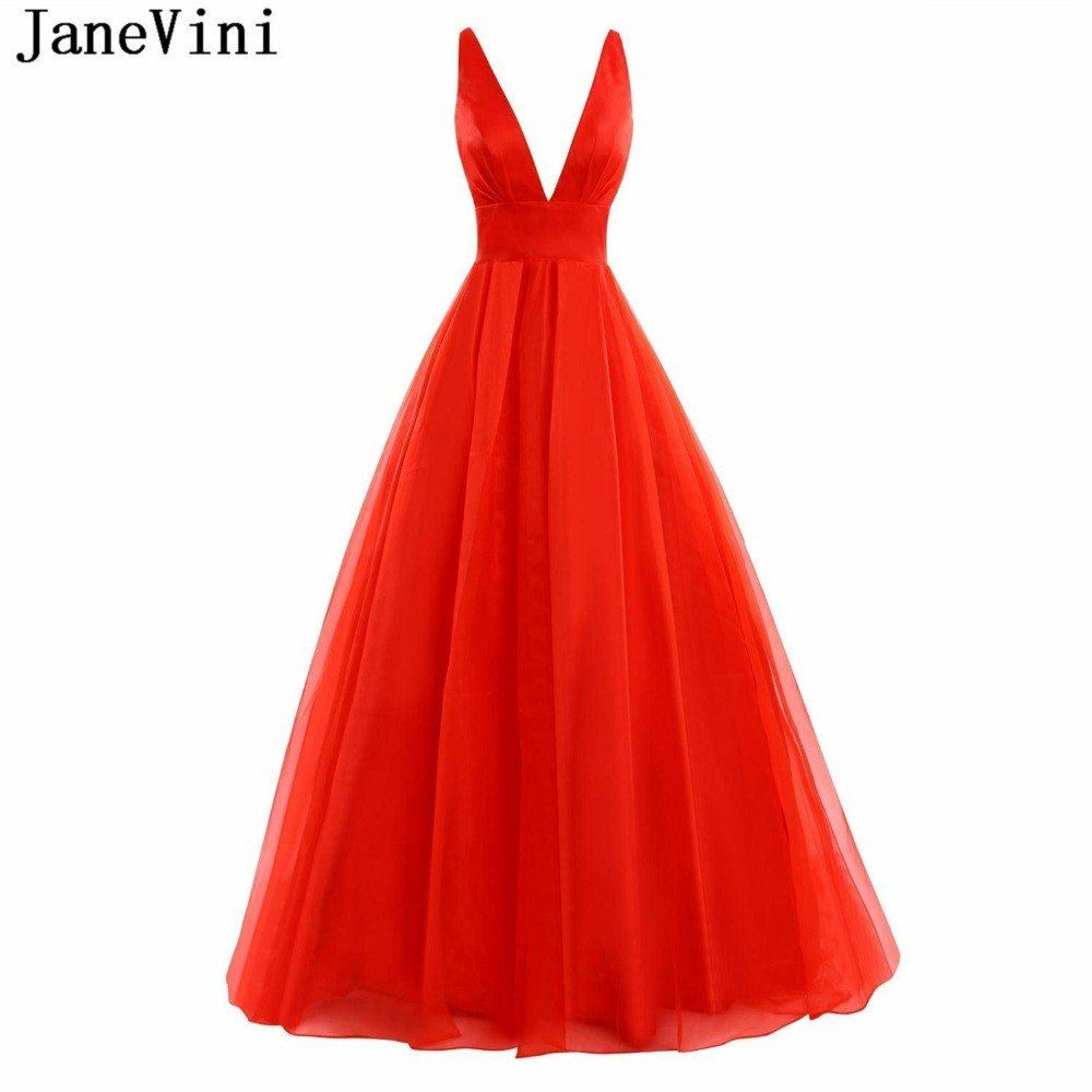 Janevini simple red tulle long bridesmaid dresses a line sexy