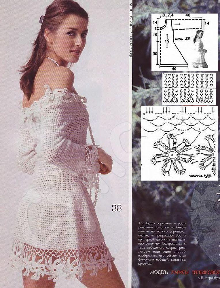 TRICO y CROCHET-madona-mía: Vestido blanco de verano a crochet con ...