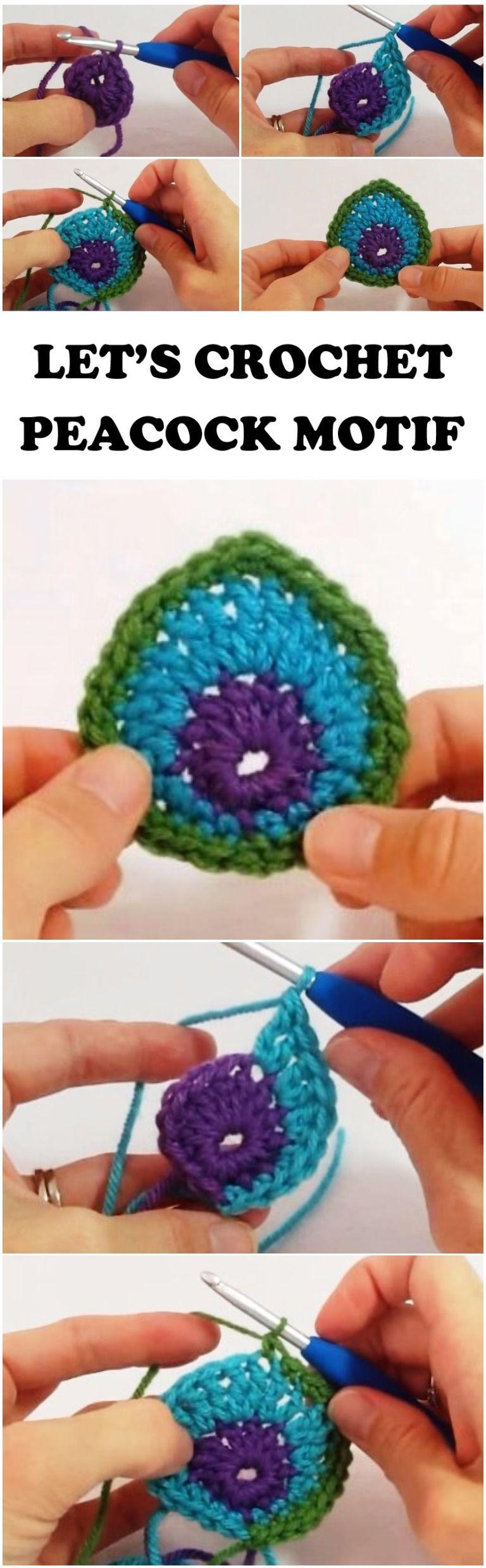 Crochet Pretty Peacock Motif Tutorial | Ganchillo, Tejido y Patrones