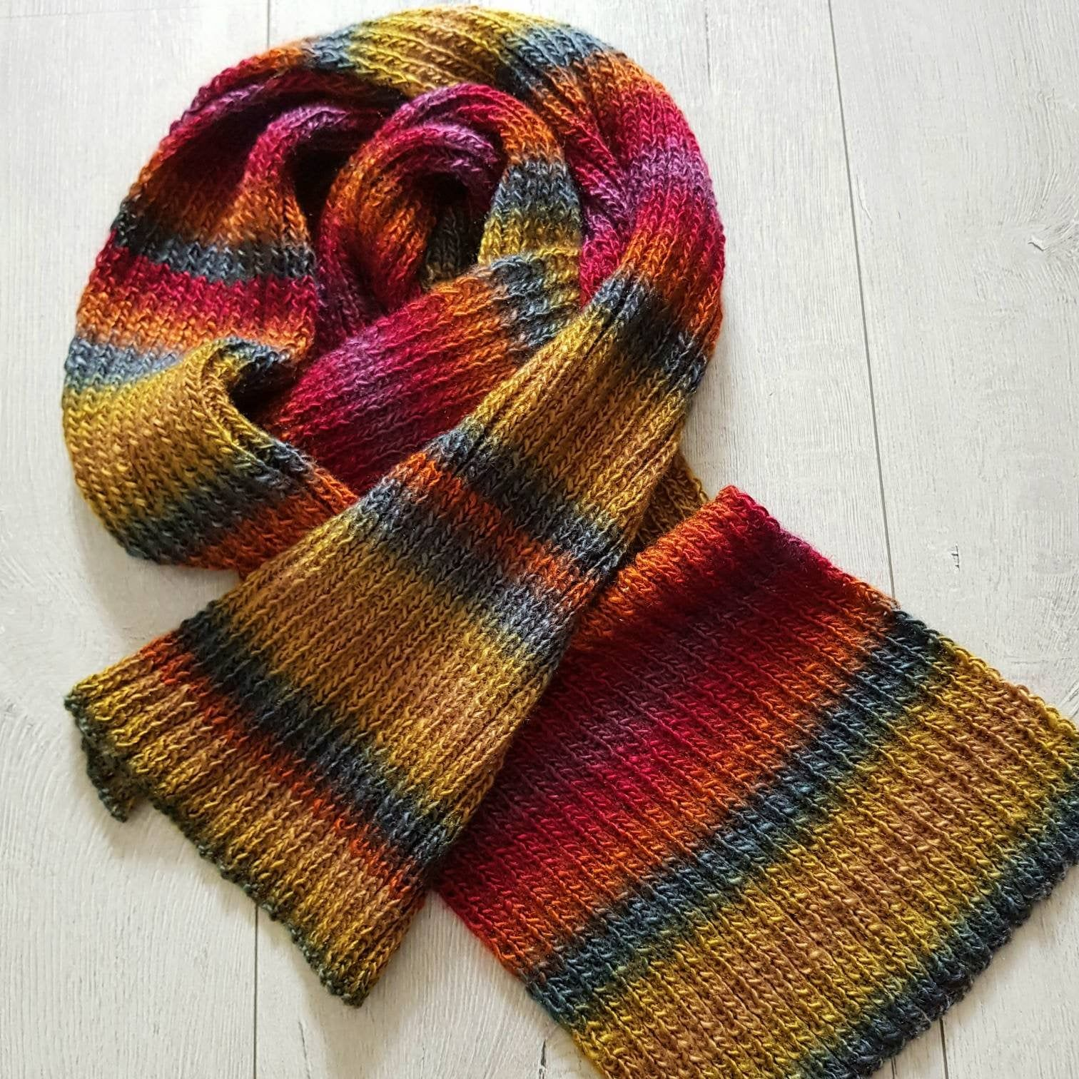 Photo of Men's scarf, colorful winter knit handmade, gift idea men
