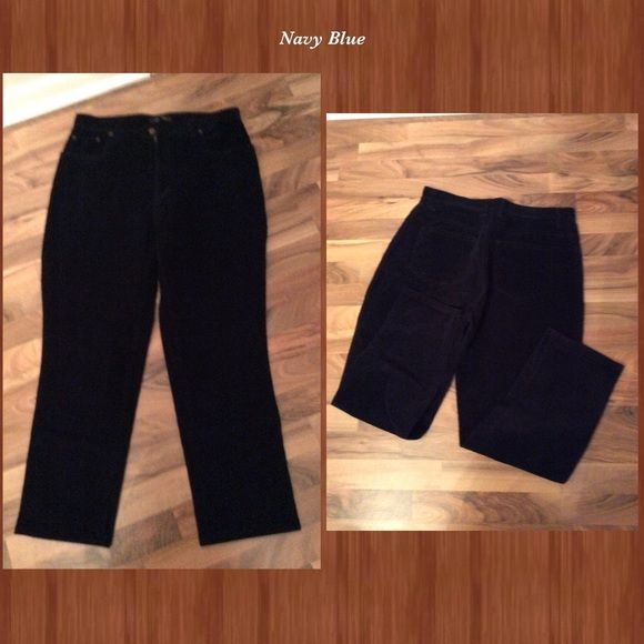 Bill Blass Stretch Petite Corduroy Navy sz 14P Bill Blass Stretch Petite Corduroy navy blue sz 14 Petite. Look brand new. See photo for color contrast. Blue is extremely deep. Bill Blass Pants