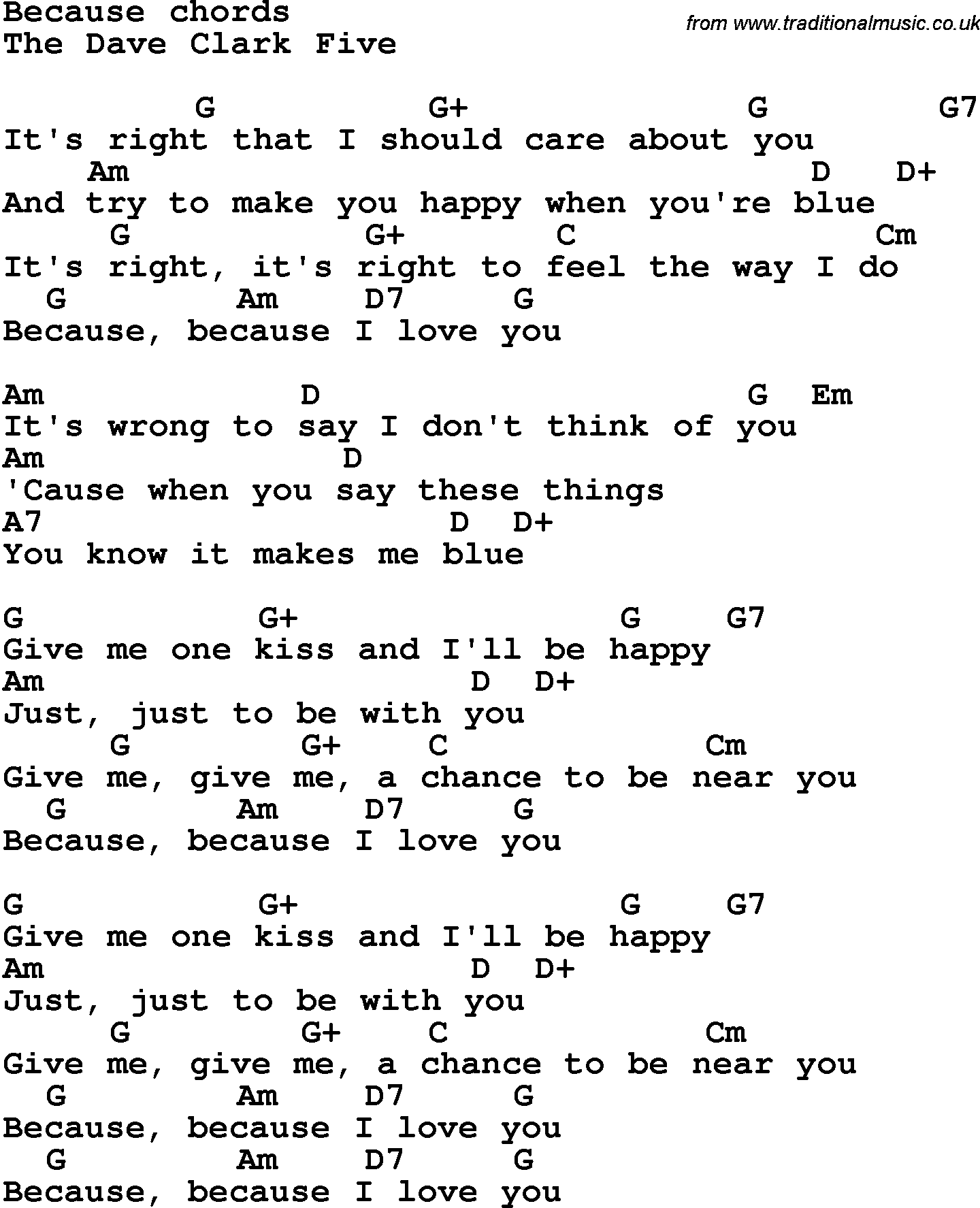 Song lyrics with guitar chords for because the dave clark five song lyrics with guitar chords for because the dave clark five hexwebz Gallery