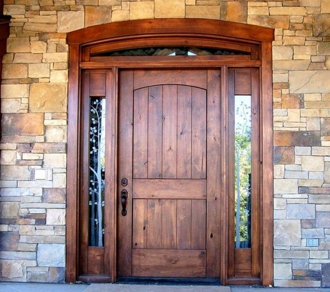 Solid Wood Entry Door With Sidelights Design