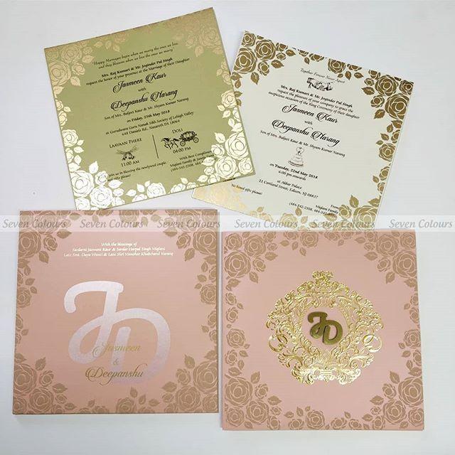 Pink Wedding Invitation Gold Foil Emblem Laser Cut Initials Logo Embossed Floral Design
