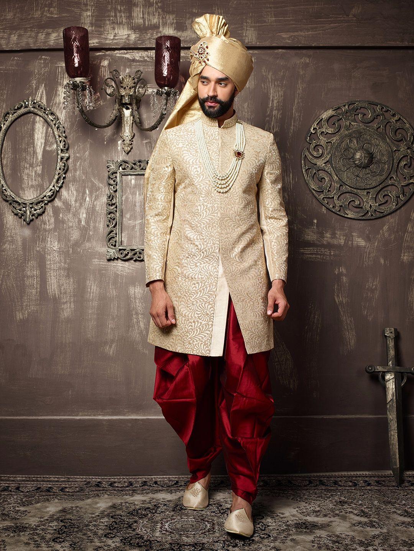 Off White Silk Embroidered Indo Western Sherwani Menus Fashion