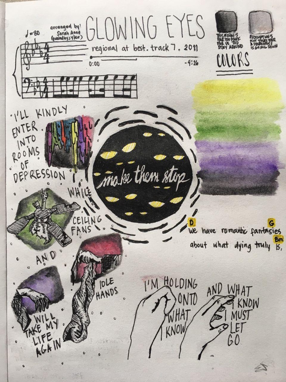 Kitchen Sink Lyrics Drawing glowing eyestwenty one pilots art study on tumblr   sick as