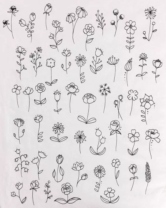 30 Ways To Draw Flowers Flower Doodles Flower Art Drawing Easy Doodle Art