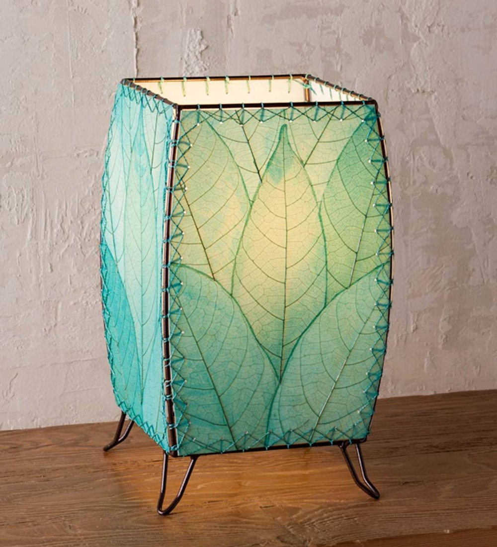 The Outdoor Indoor Blue Leaf Cube Lamp Highlights Gentle Sloping Curves At Its Corners Along With A Striking Display Of Cocoa Leav In 2020 Cube Lamps Lamp Indoor Lamp