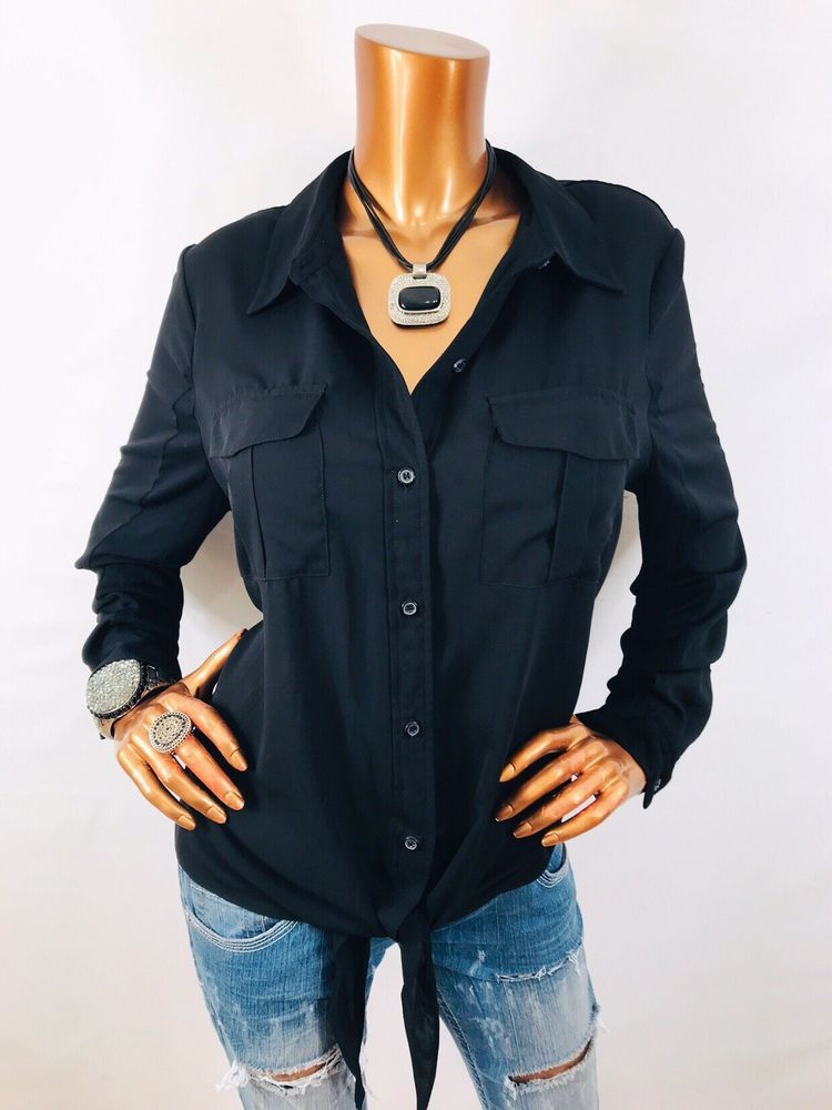 0ffbb91f INC XL Top Stretch Button Down Shirt Front Tie Knot Blouse Black Long  Sleeve | eBay