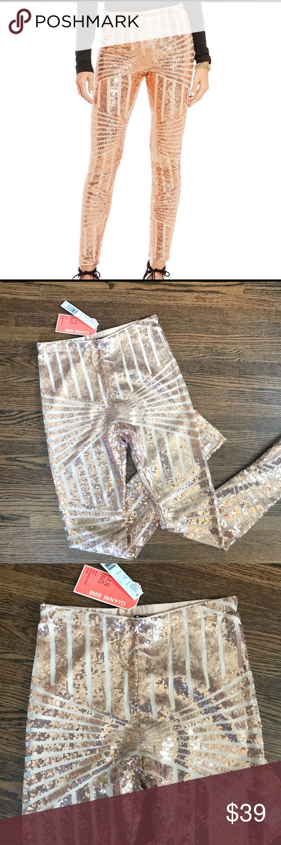 07707bf8c7158 NWT Gianni Bini Rose Gold Roxanne Sequins Leggings Wow! These are  definitely eye catching.