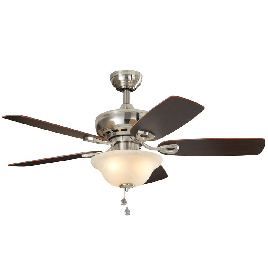 Harbor Breeze Sage Cove 44 In Satin Nickel Downrod Or Close Mount Indoor Ceiling Fan With Light Kit