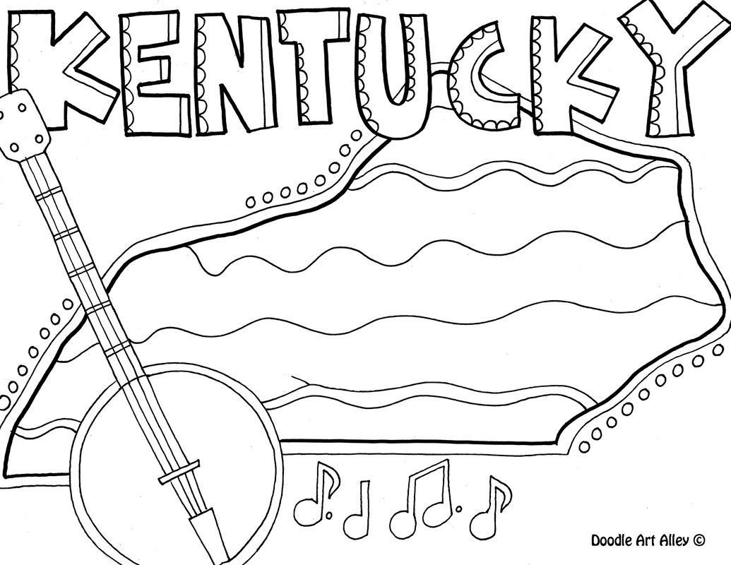 Kentucky State Coloring Page Coloring Pages Pattern Coloring Pages Doodle Art