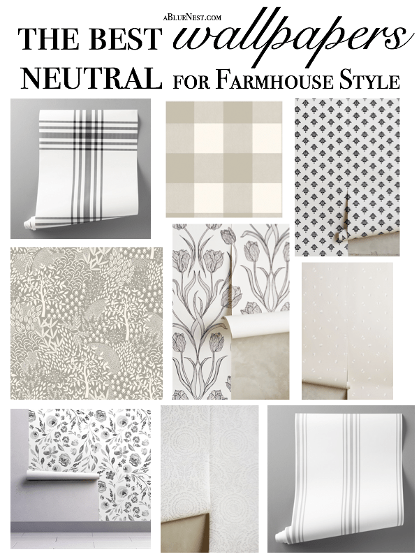 The Best Neutral Wallpaper for Farmhouse Style Room