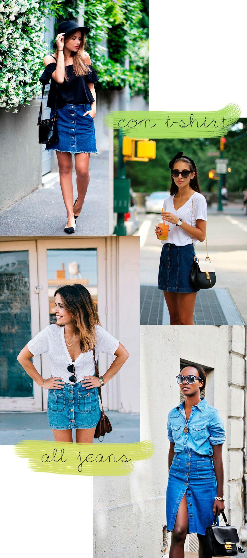 Como usar saia jeans com botões #saia #jeans #trend #howtowear #comousar #skirt #buttons #ritaheroina