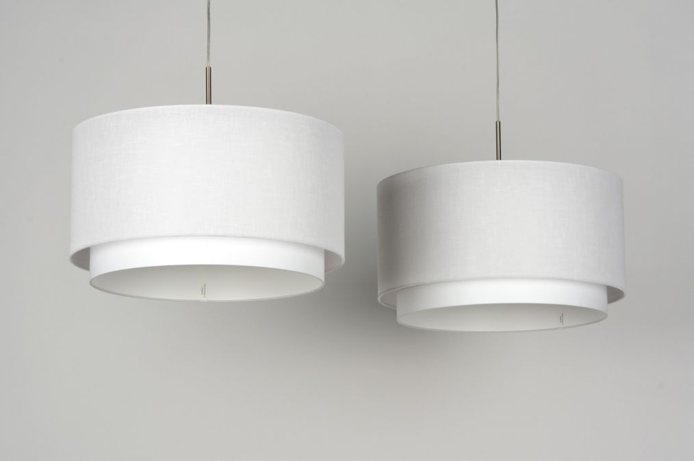 hanglamp 30133 modern staal  rvs stof wit rond