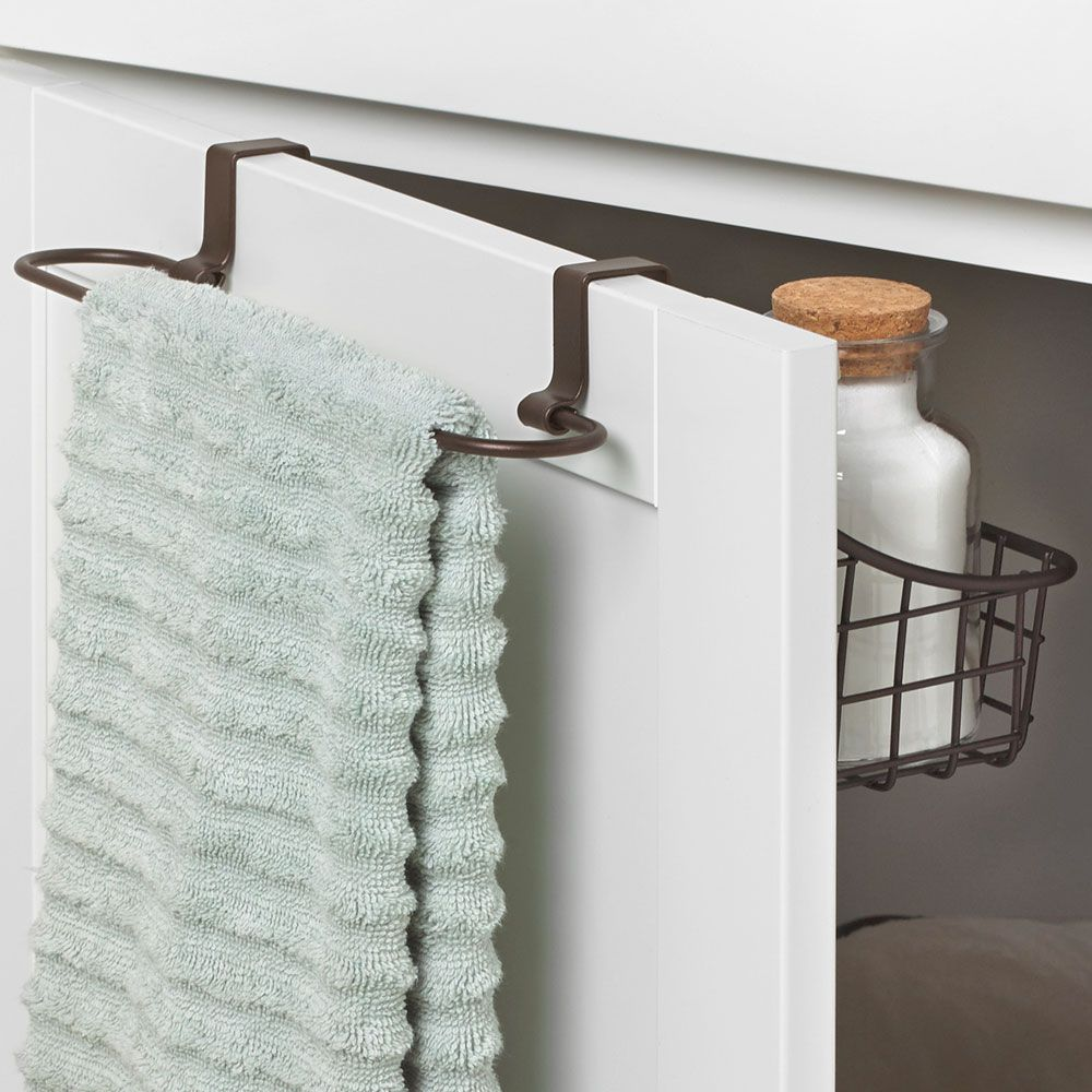 Add The Over Cabinet Door Basket With Towel Bar To Any Cabinet Door To Store Both Dish Towels And Cleaning Product Towel Bar Cabinet Doors Diy Kitchen Cabinets
