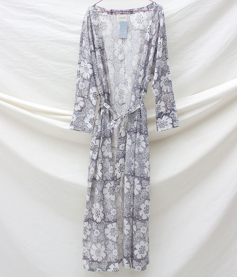 f56db628e6 Grey Floral - floor length cotton robe from Natural Bed Company ...