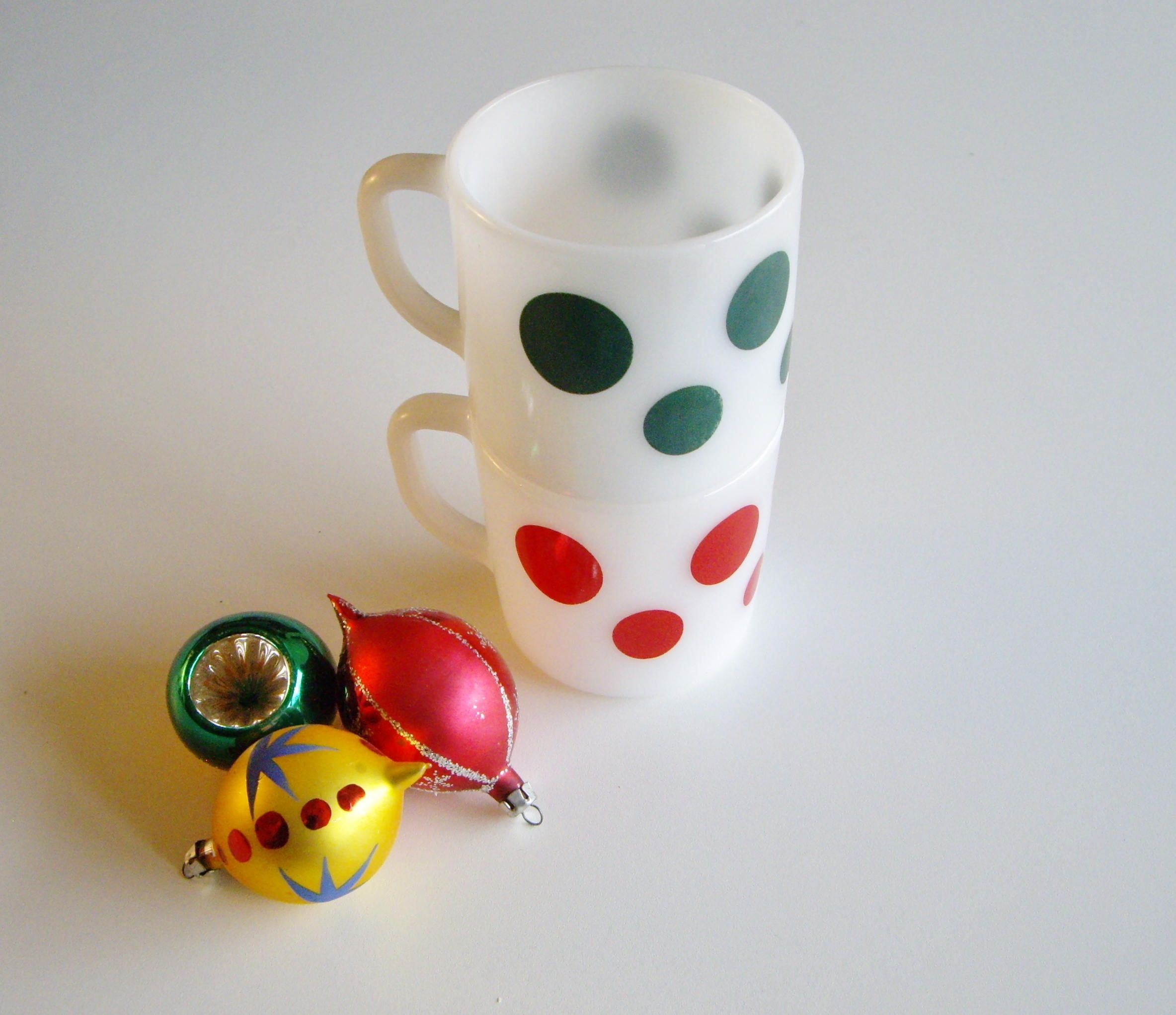 Vintage, Milk Glass Mugs, Polka Dot, Red, Green, Federal Glass ...