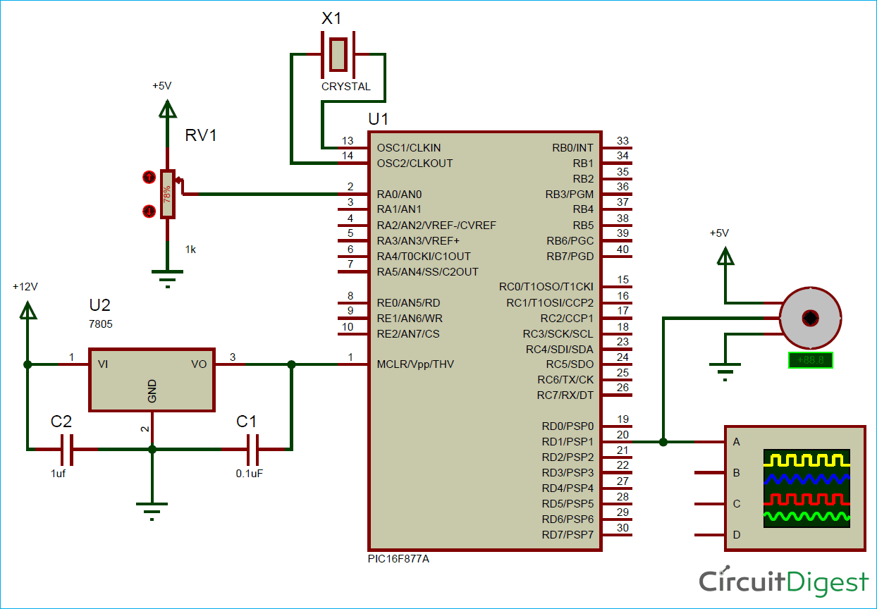 circuit diagram for generating pwm signals on gpio pins of pic microcontroller controlling servo motor [ 1244 x 864 Pixel ]