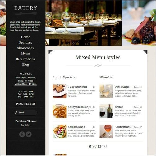 left menu GUI Pinterest Restaurant menu template, Menu - free dinner menu templates