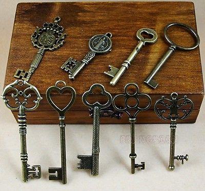 NEW!! Art Antique Vintage Old Style Skeleton Keys 11 Lot SteamPunk ...