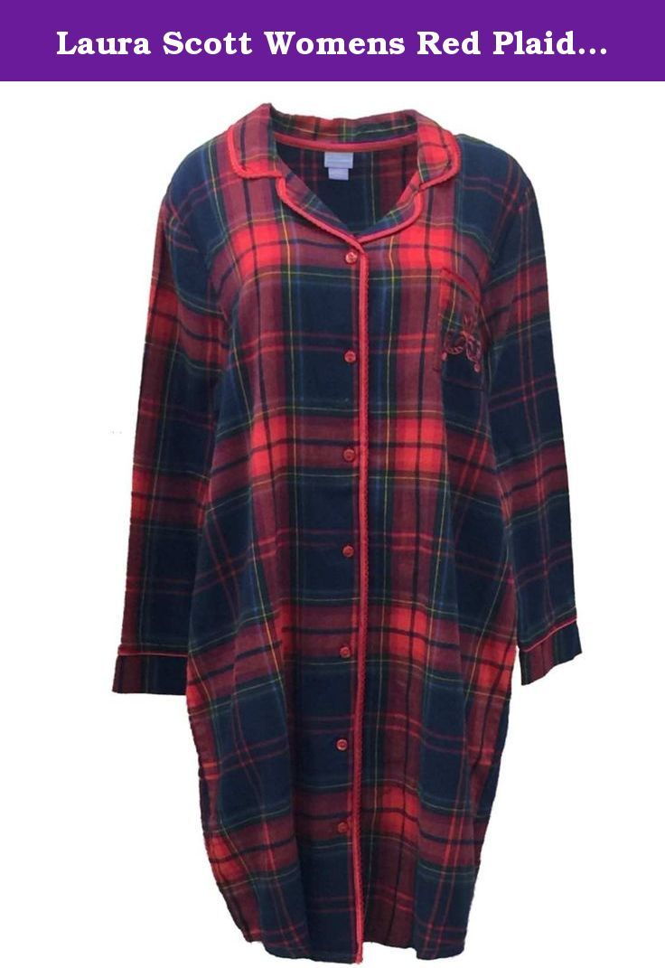 e8a8ae65a9 Laura Scott Womens Red Plaid Flannel Nightgown Sleep Shirt Night Gown. This  pretty red plaid flannel nightgown is so cozy