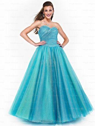 BallGown Sweetheart Tulle Floor-length Draped Prom Dresses