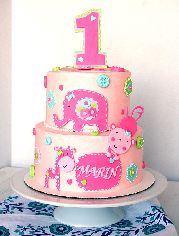 First Birthday Cake Baby Girl Birthday Cake Pink Zoo Animals Cake