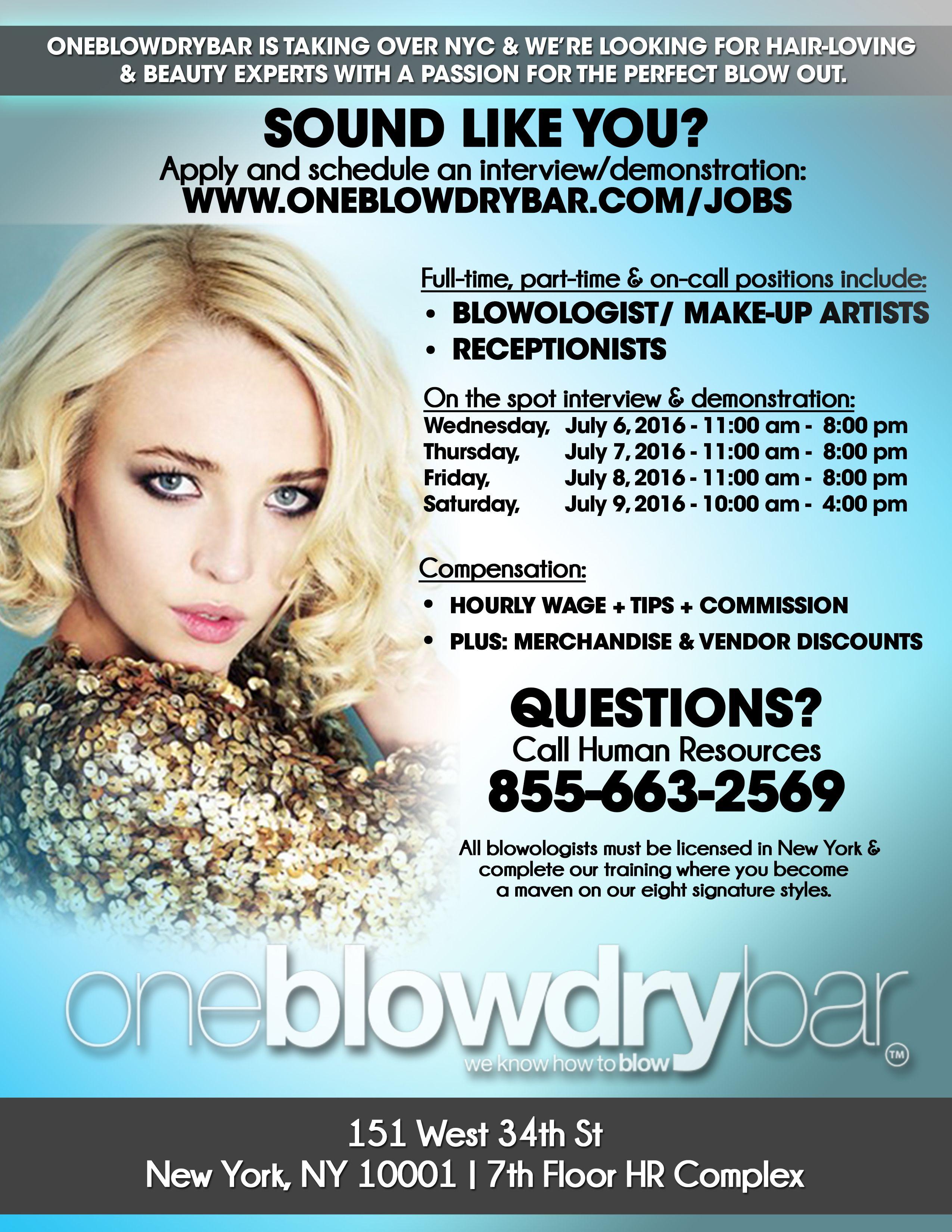 Hairstylist Jobs Oneblowdrybar Blow Dry Bar And Blowout Hairstyling Salons Blow Dry Bar Blow Dry Dry Bar Blowout