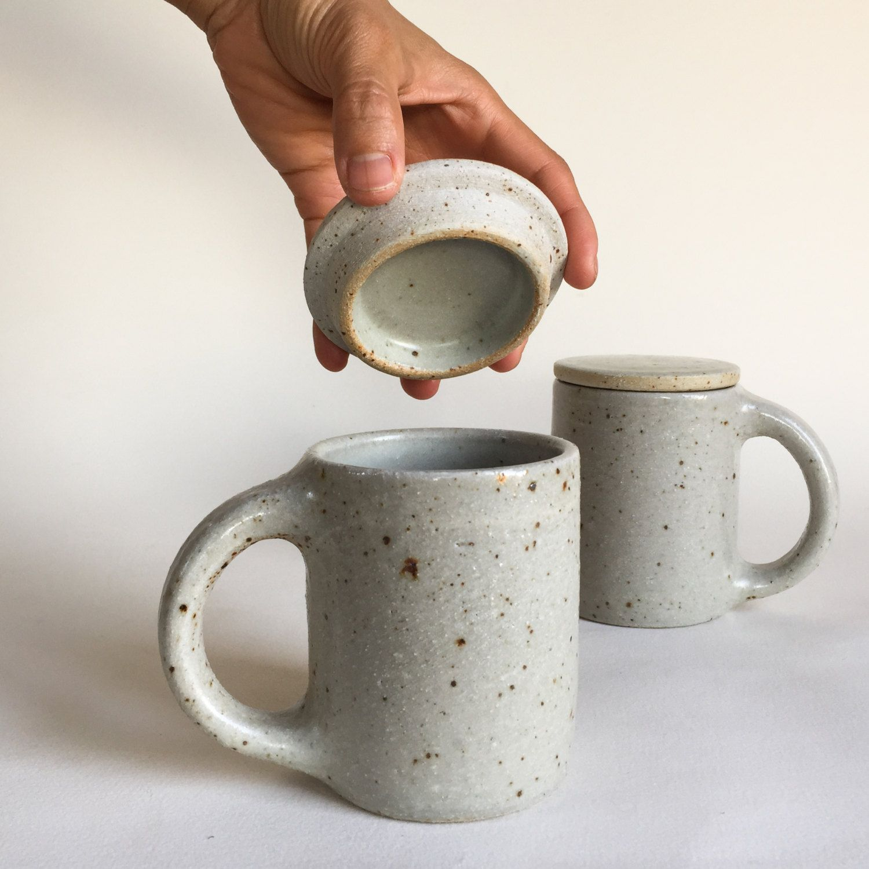 LIDDED MUG White Speckled 12 oz, ceramic, pottery